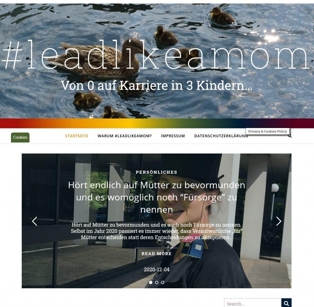Screenshot der #leadlikeamom-Startseite