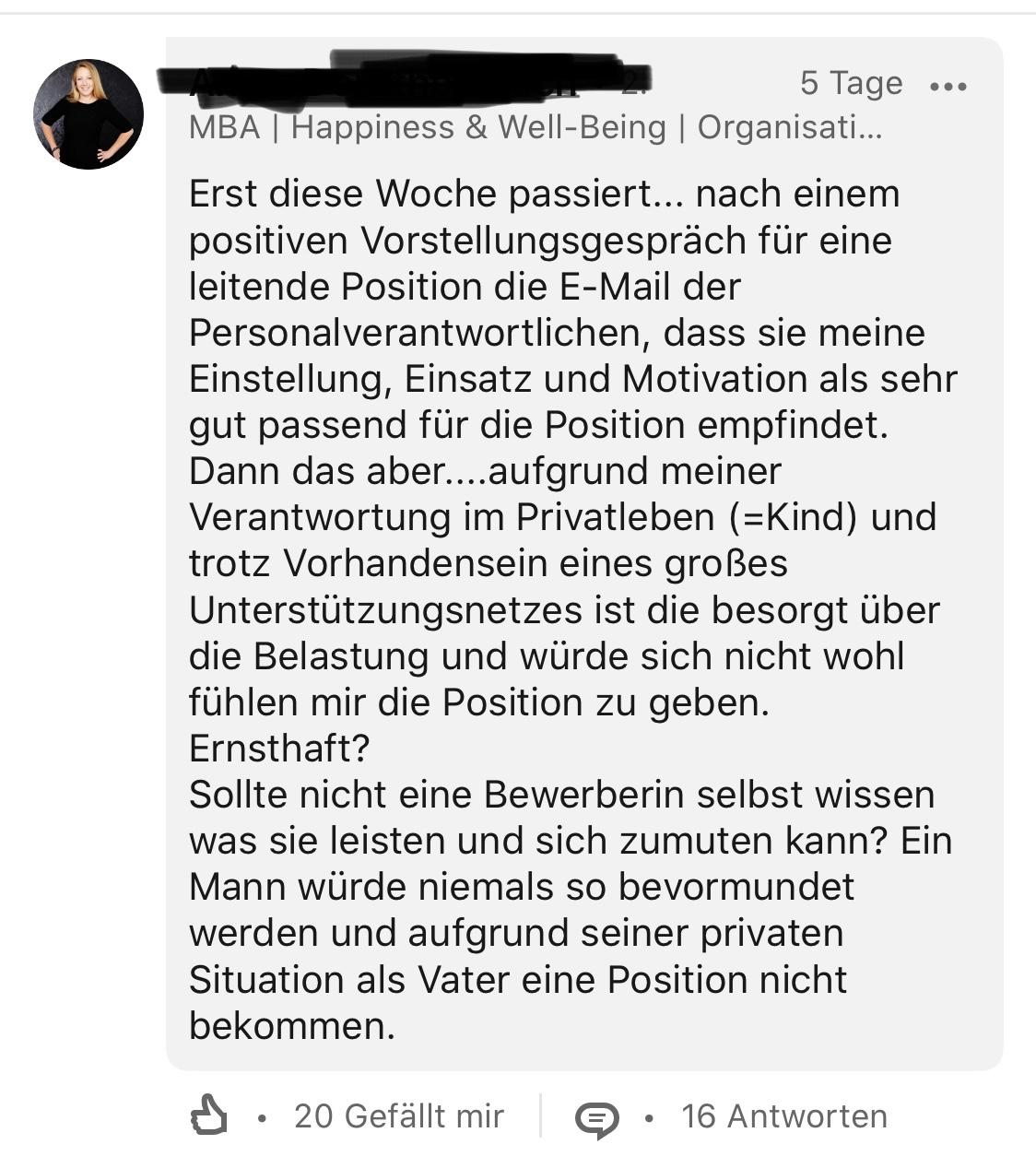 Screenshot eines Kommentars bei LinkedIn mit der unglaublichen Rückmeldung einer Personalabteilung.