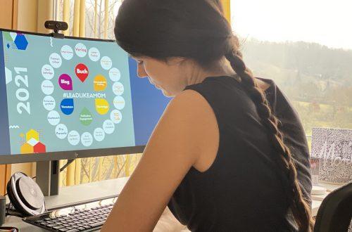 Veronika am Schreibtisch, Auf dem Monitor eine Mindmap zu leadlikeamom
