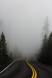 Unser zukünftiger Weg wird immer weniger planbar. Er ist von Unsicherheit geprägt, liegt quasi im Nebel. (Bild von Katie Moum) Zu sehen: Straße führt in den Nebel
